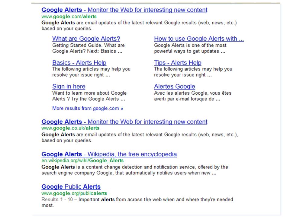 Results of Google search for Google Alerts