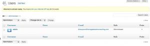 WordPress Dashboard Users Screen