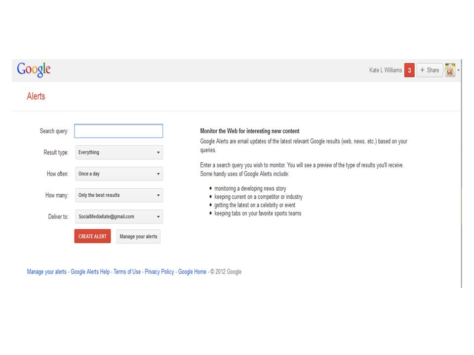 Google Alerts page for set up